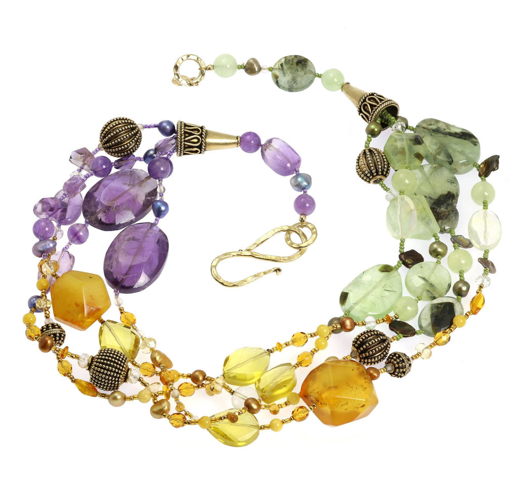 Amber Prehnite Amethyst Citrine Beaded Gemstone Necklace - johnsbrana - 3