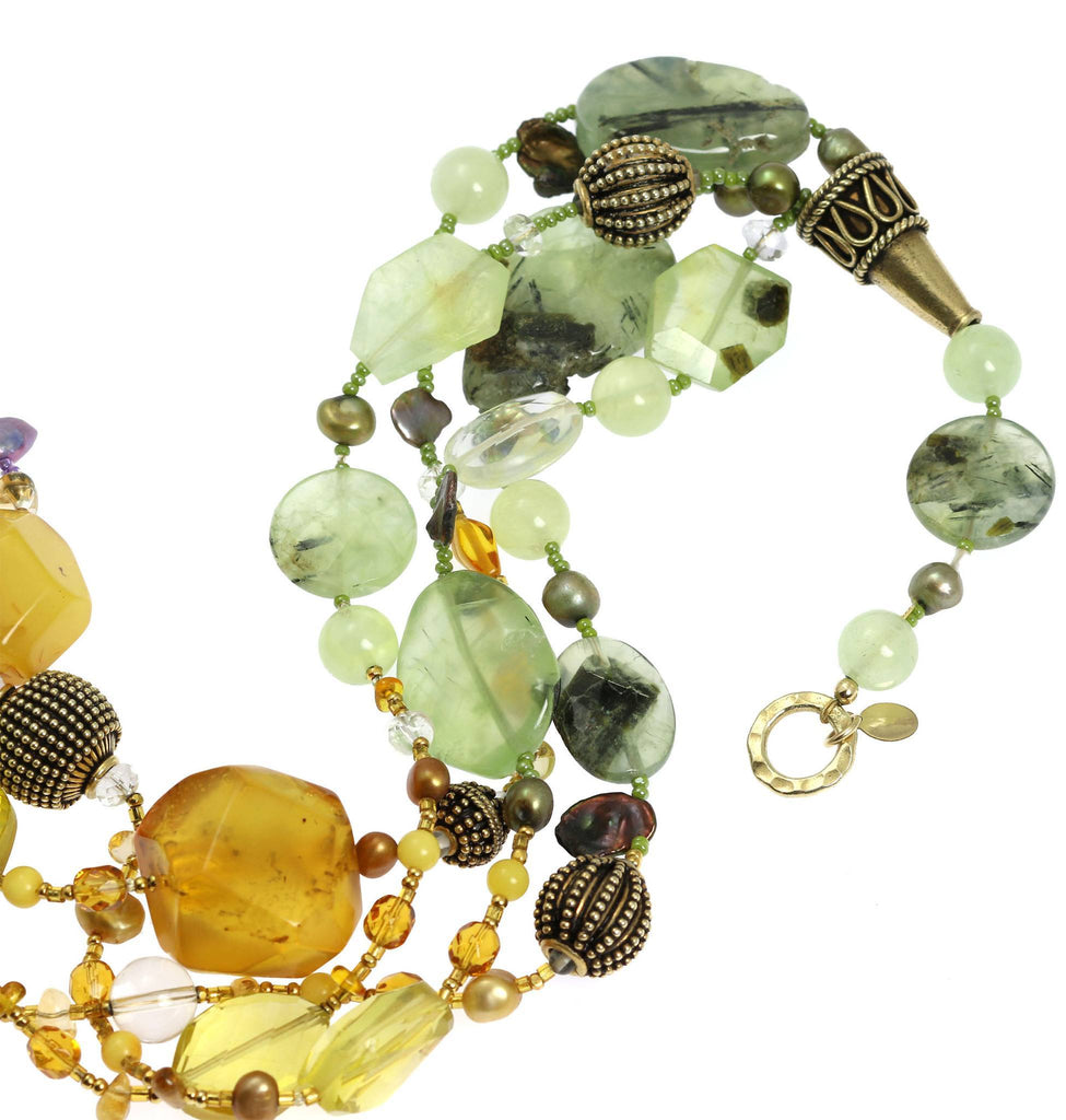 Amber Prehnite Amethyst Citrine Beaded Gemstone Necklace - johnsbrana - 6