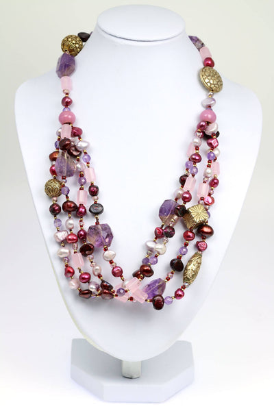 Amethyst Rose Quartz Beaded Gemstone Necklace - johnsbrana - 1