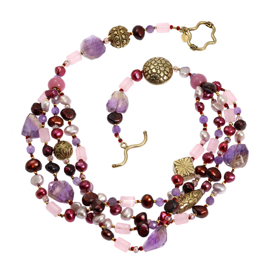 Amethyst Rose Quartz Beaded Gemstone Necklace - johnsbrana - 2