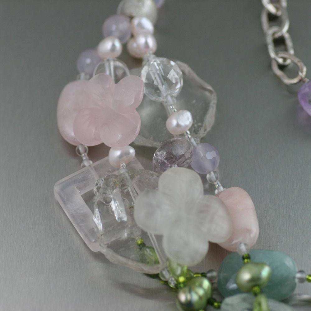 Necklaces - Aquamarine Beaded Gemstone Necklace