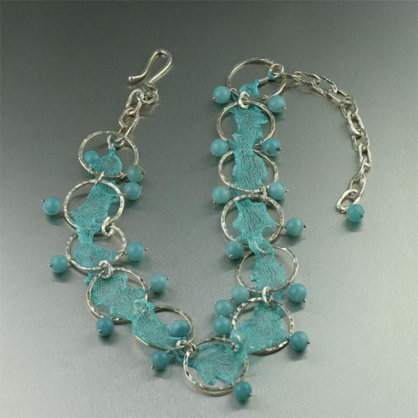 Aquamarine Italian Mesh Metal Ribbon Necklace - Amazonite - johnsbrana