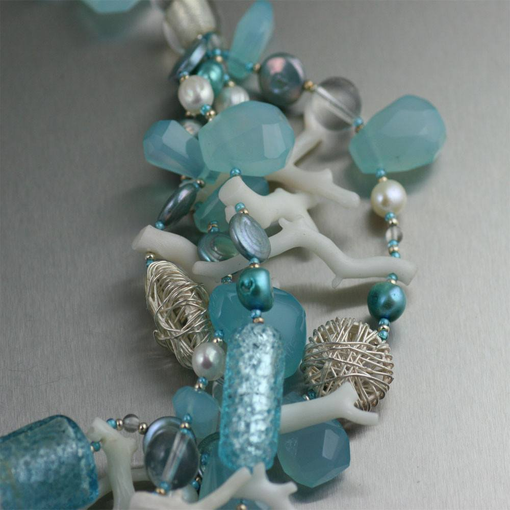 Blue Chalcedony White Coral Necklace - johnsbrana - 2