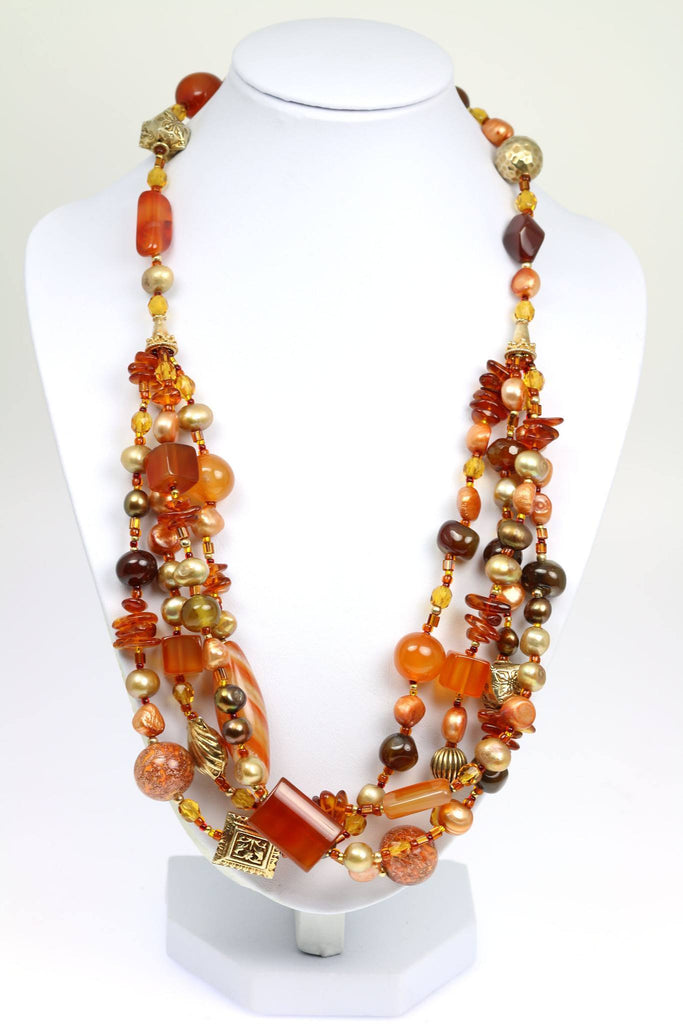 Carnelian Beaded Gemstone Necklace - johnsbrana - 1