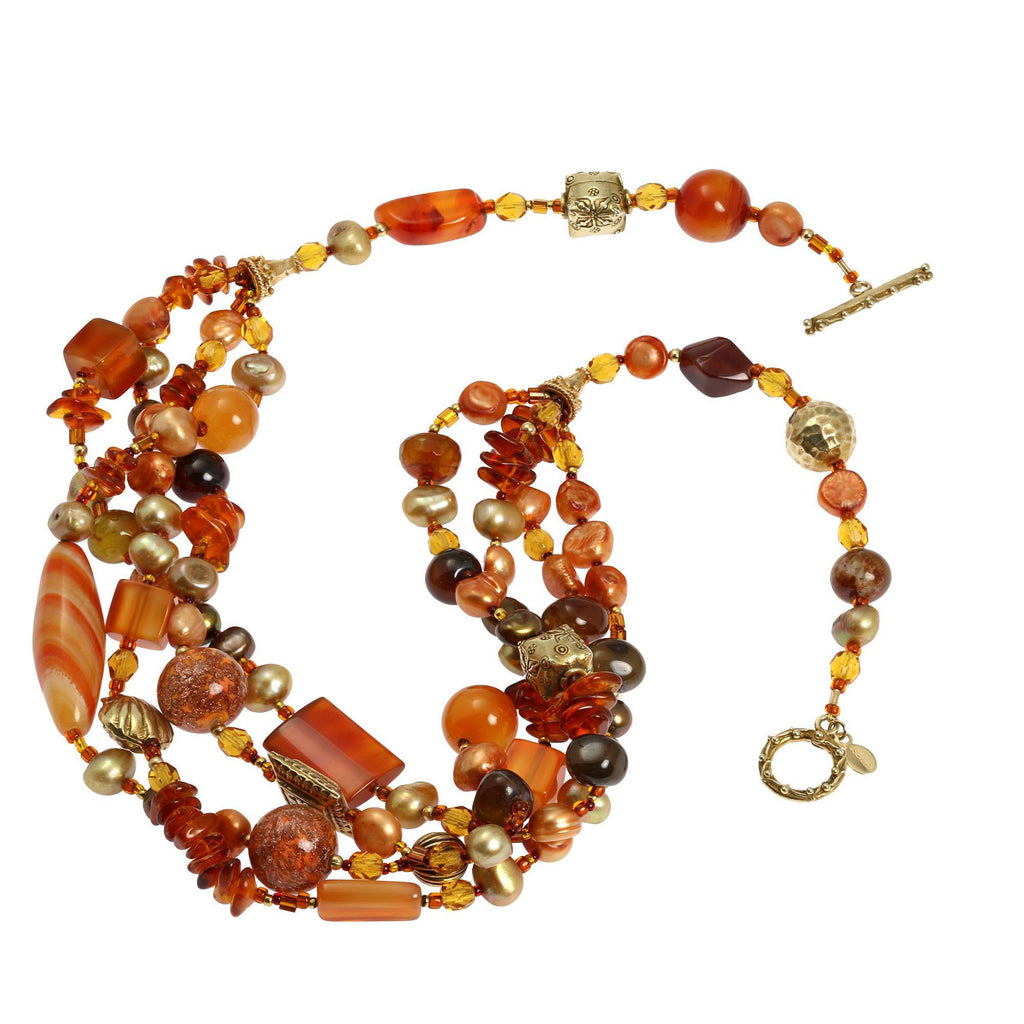 Carnelian Beaded Gemstone Necklace - johnsbrana - 2