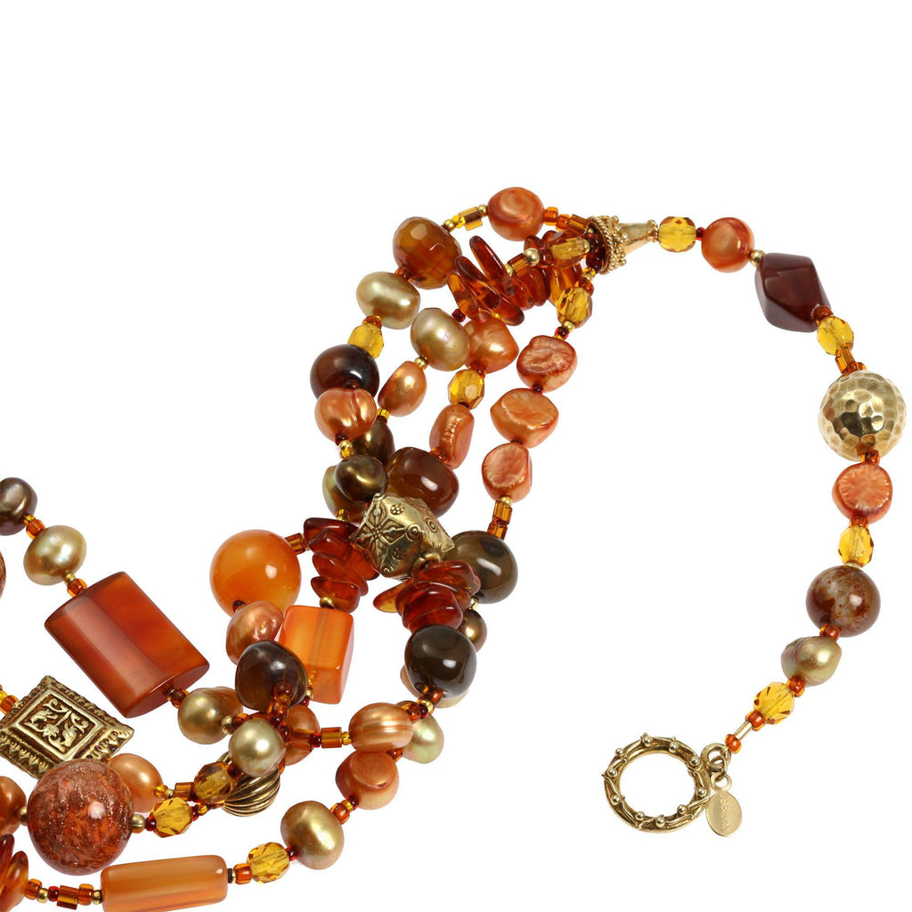 Carnelian Beaded Gemstone Necklace - johnsbrana - 3