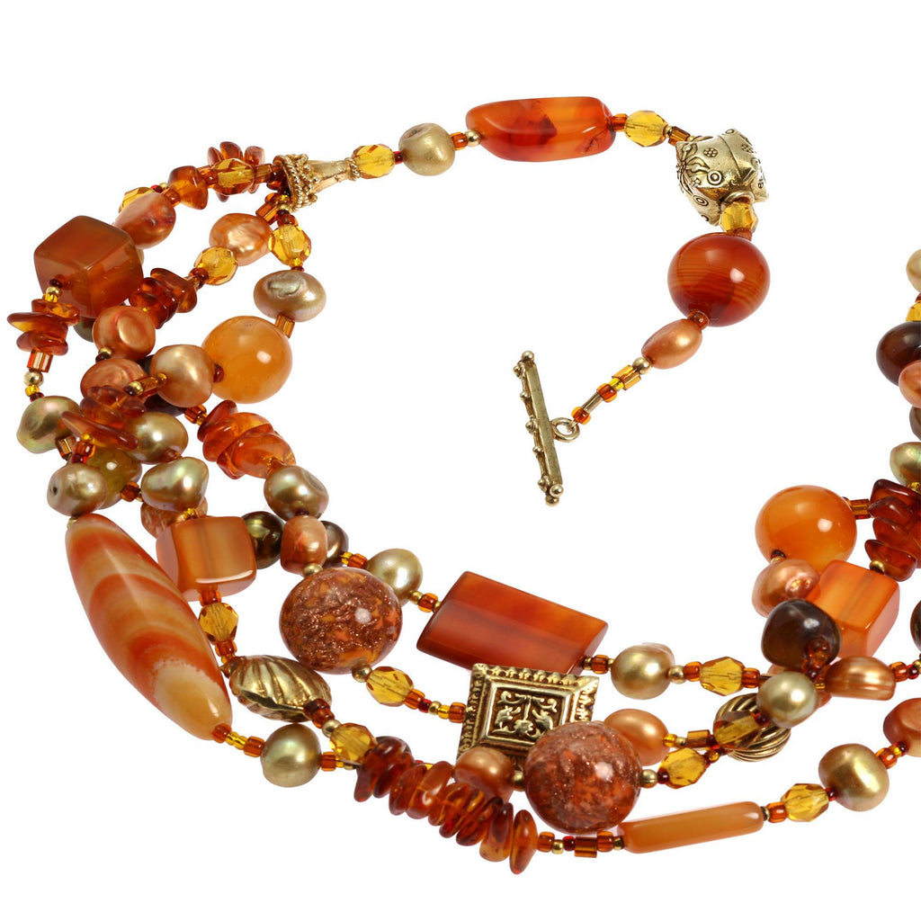Carnelian Beaded Gemstone Necklace - johnsbrana - 4