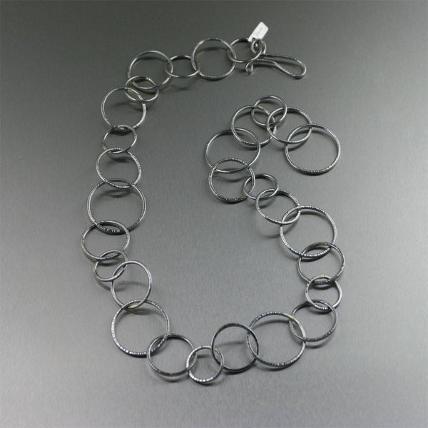 Chased Stainless Steel Chain Link Necklace - johnsbrana - 1