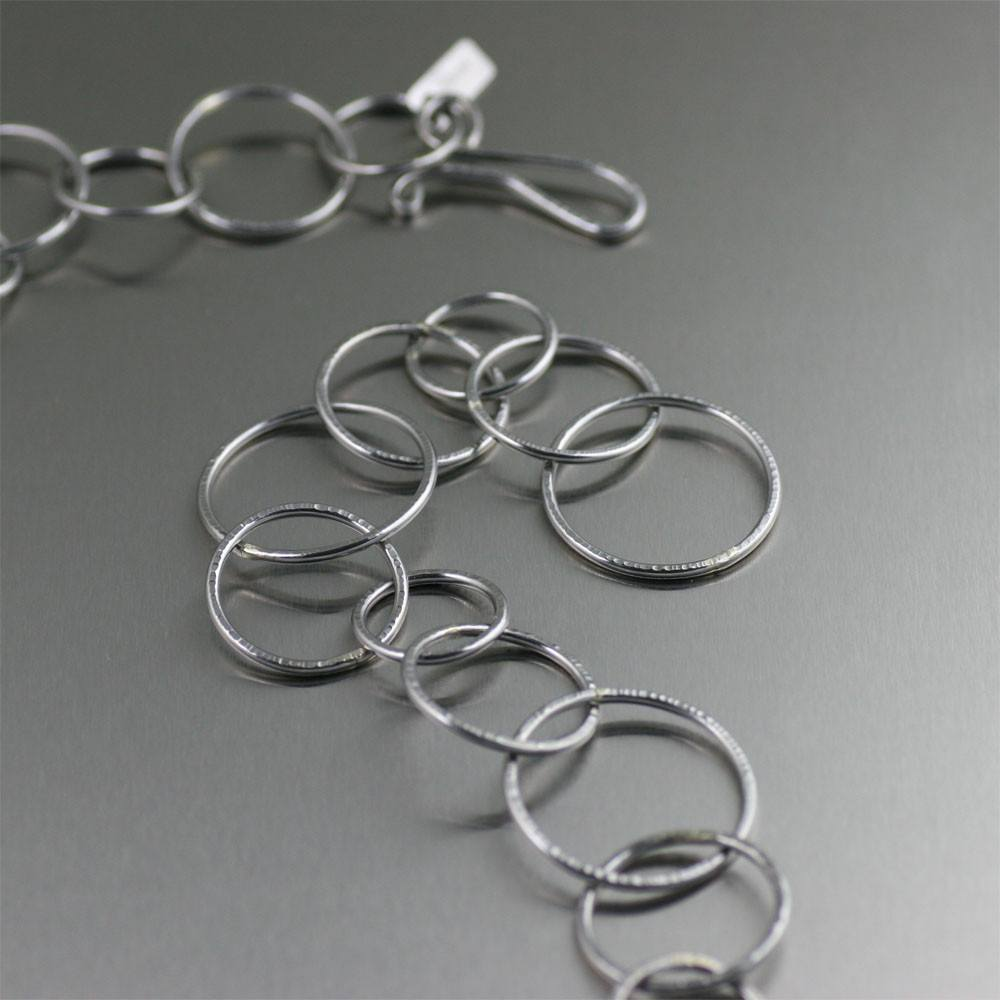 Chased Stainless Steel Chain Link Necklace - johnsbrana - 2