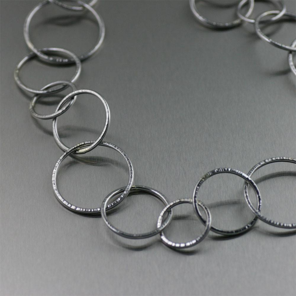 Chased Stainless Steel Chain Link Necklace - johnsbrana - 3