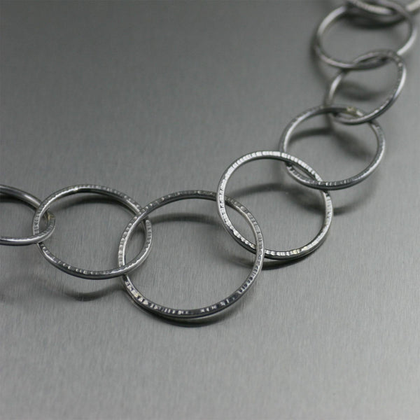 Chased Stainless Steel Link Necklace - johnsbrana - 1