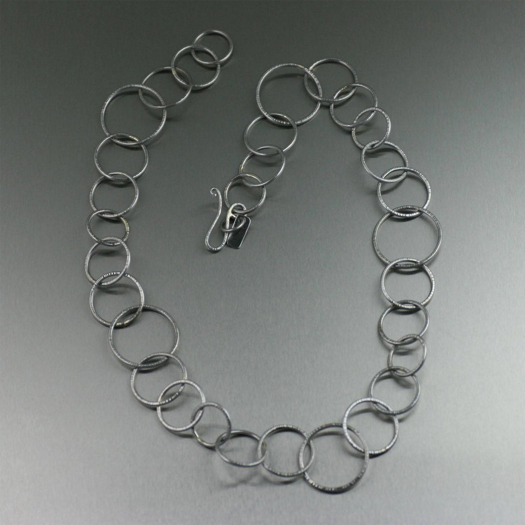 Chased Stainless Steel Link Necklace - johnsbrana - 2