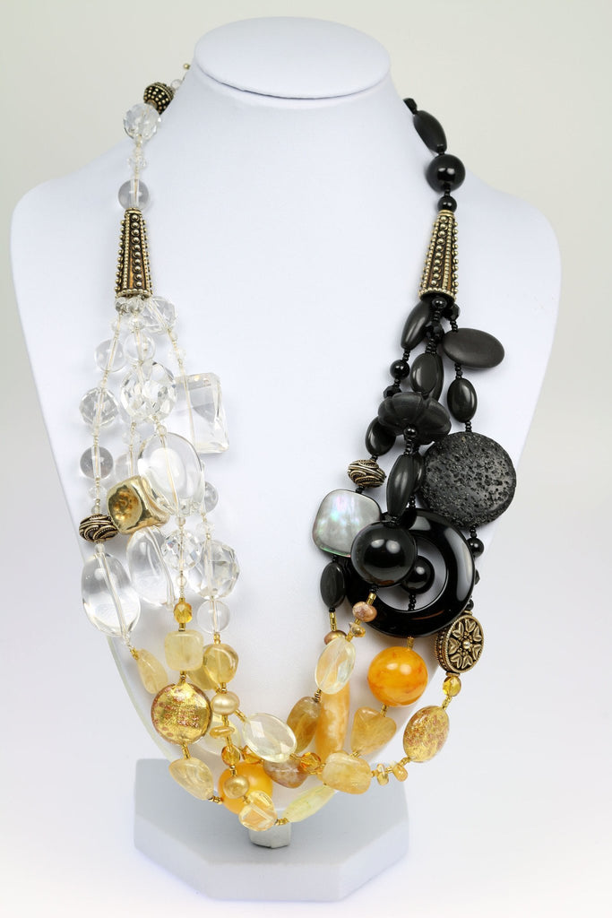 Crystal Quartz Onyx Amber Beaded Gemstone Necklace - johnsbrana - 1