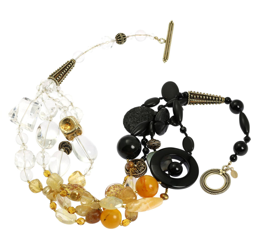 Crystal Quartz Onyx Amber Beaded Gemstone Necklace - johnsbrana - 2