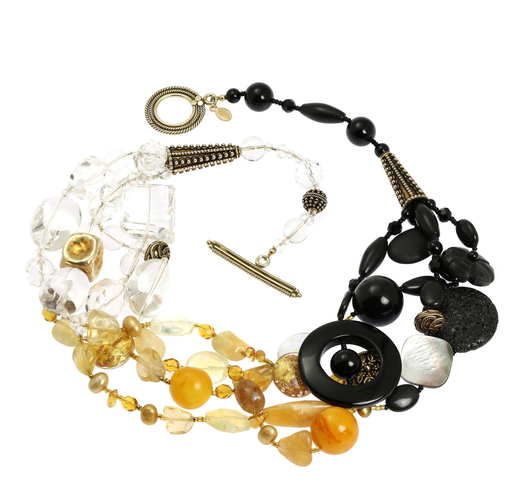 Crystal Quartz Onyx Amber Beaded Gemstone Necklace - johnsbrana - 3