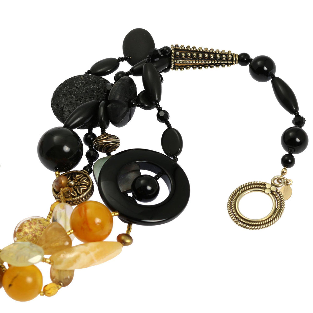 Crystal Quartz Onyx Amber Beaded Gemstone Necklace - johnsbrana - 4