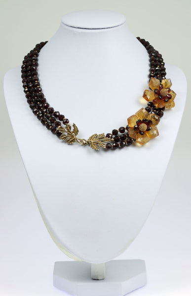 Faceted Garnets and Citrine Flower Necklace - johnsbrana - 1