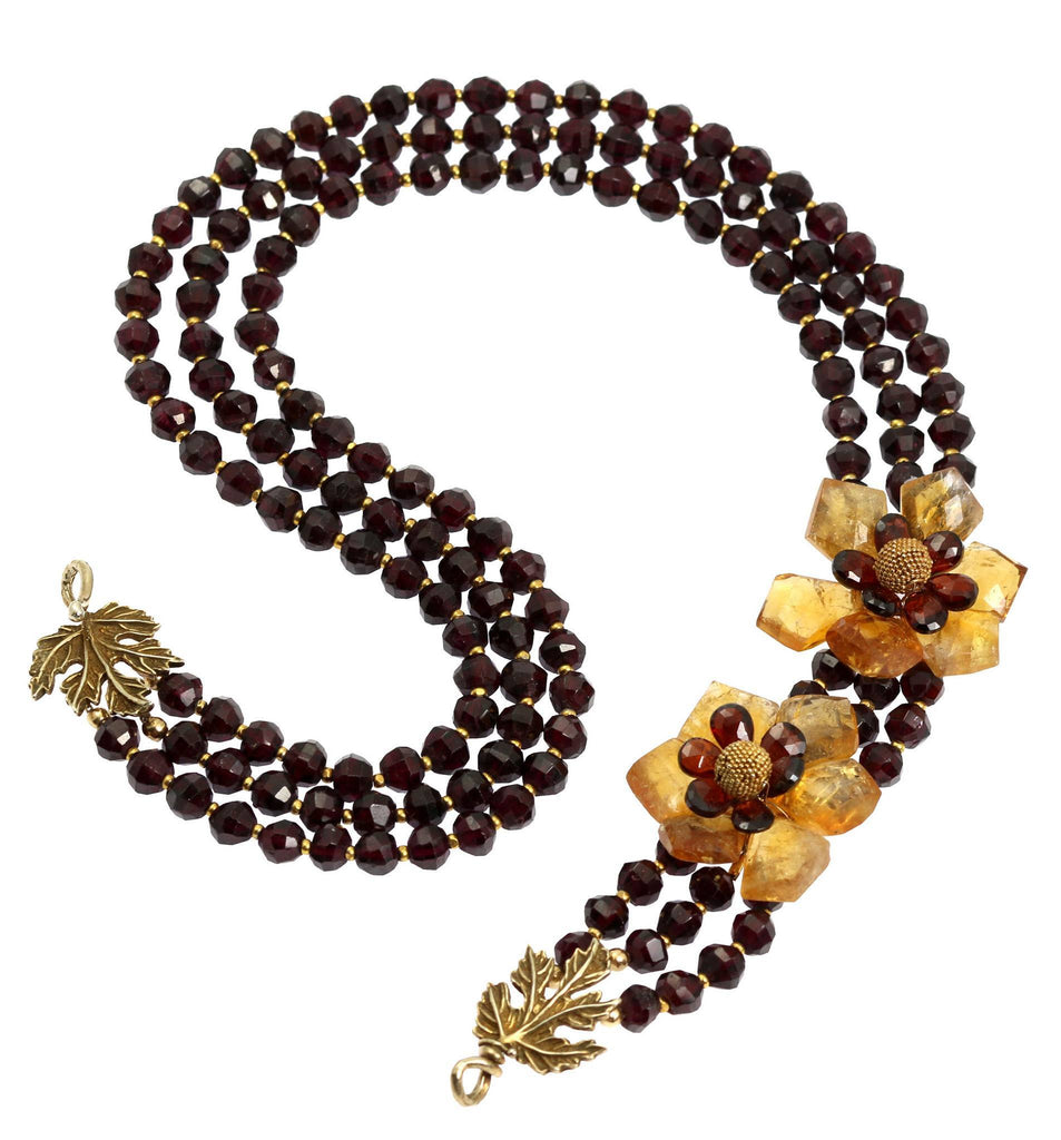 Faceted Garnets and Citrine Flower Necklace - johnsbrana - 2