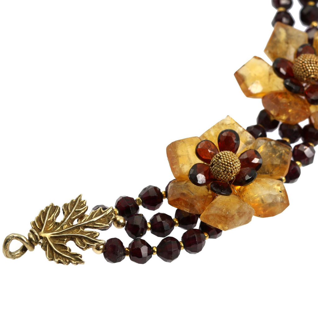 Faceted Garnets and Citrine Flower Necklace - johnsbrana - 3