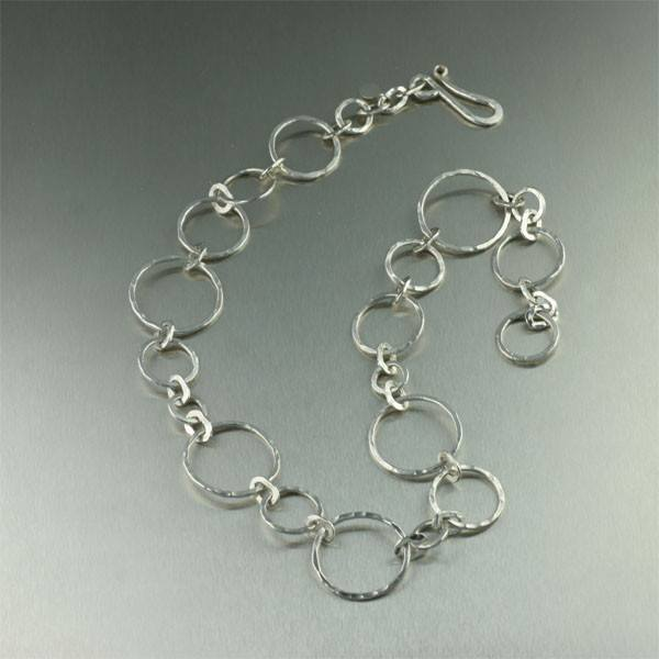 Necklaces - Fine SIlver Hammered Hoop Necklace