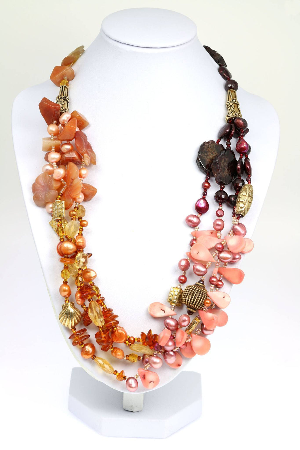 Garnet Amber Carnelian Beaded Gemstone Necklace - johnsbrana - 1