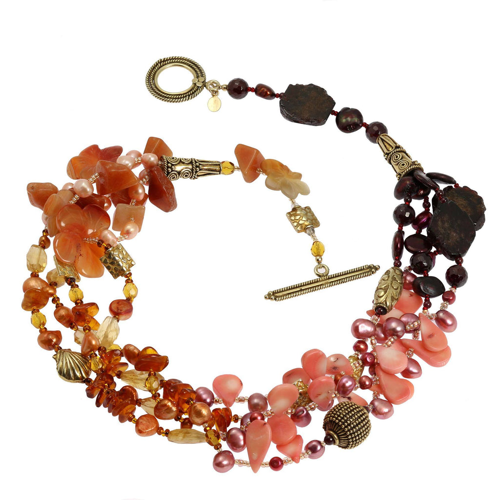 Garnet Amber Carnelian Beaded Gemstone Necklace - johnsbrana - 2