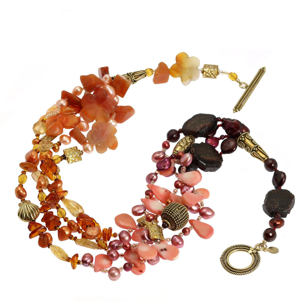 Garnet Amber Carnelian Beaded Gemstone Necklace - johnsbrana - 3