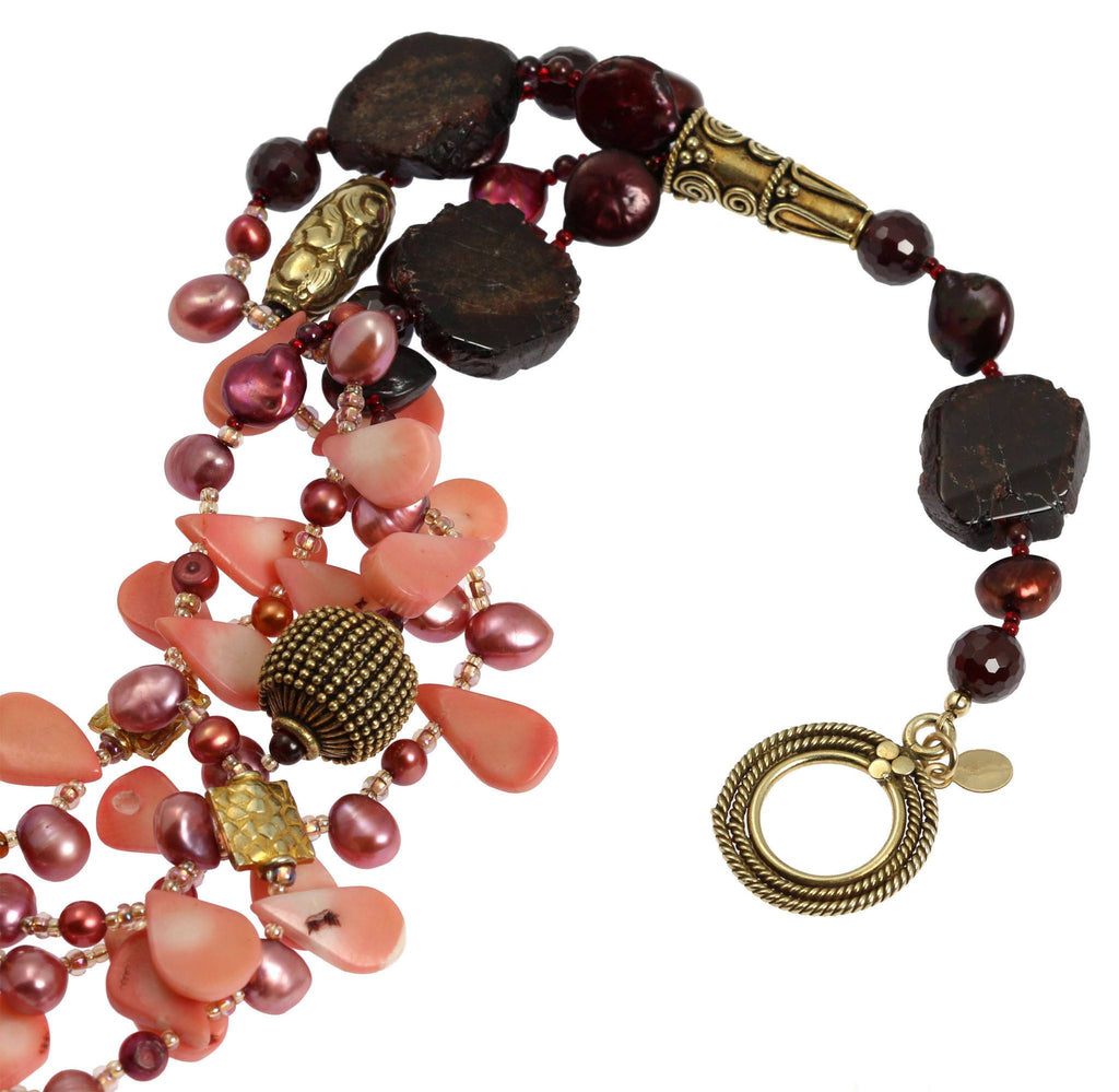 Garnet Amber Carnelian Beaded Gemstone Necklace - johnsbrana - 4