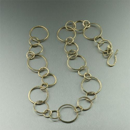 Gold Chased Hoop Necklace - johnsbrana