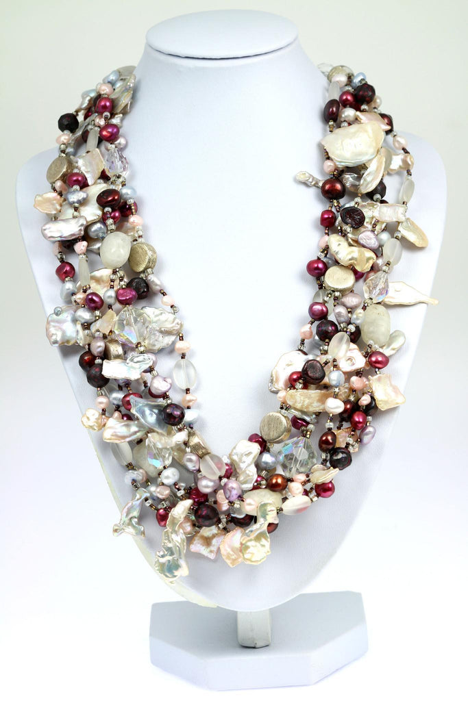 Keishi Cornflake Pearl Beaded Gemstone Necklace - johnsbrana - 1