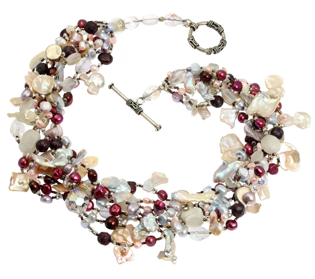 Keishi Cornflake Pearl Beaded Gemstone Necklace - johnsbrana - 3