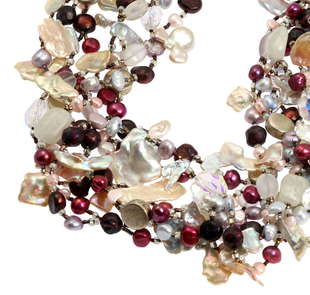 Keishi Cornflake Pearl Beaded Gemstone Necklace - johnsbrana - 4