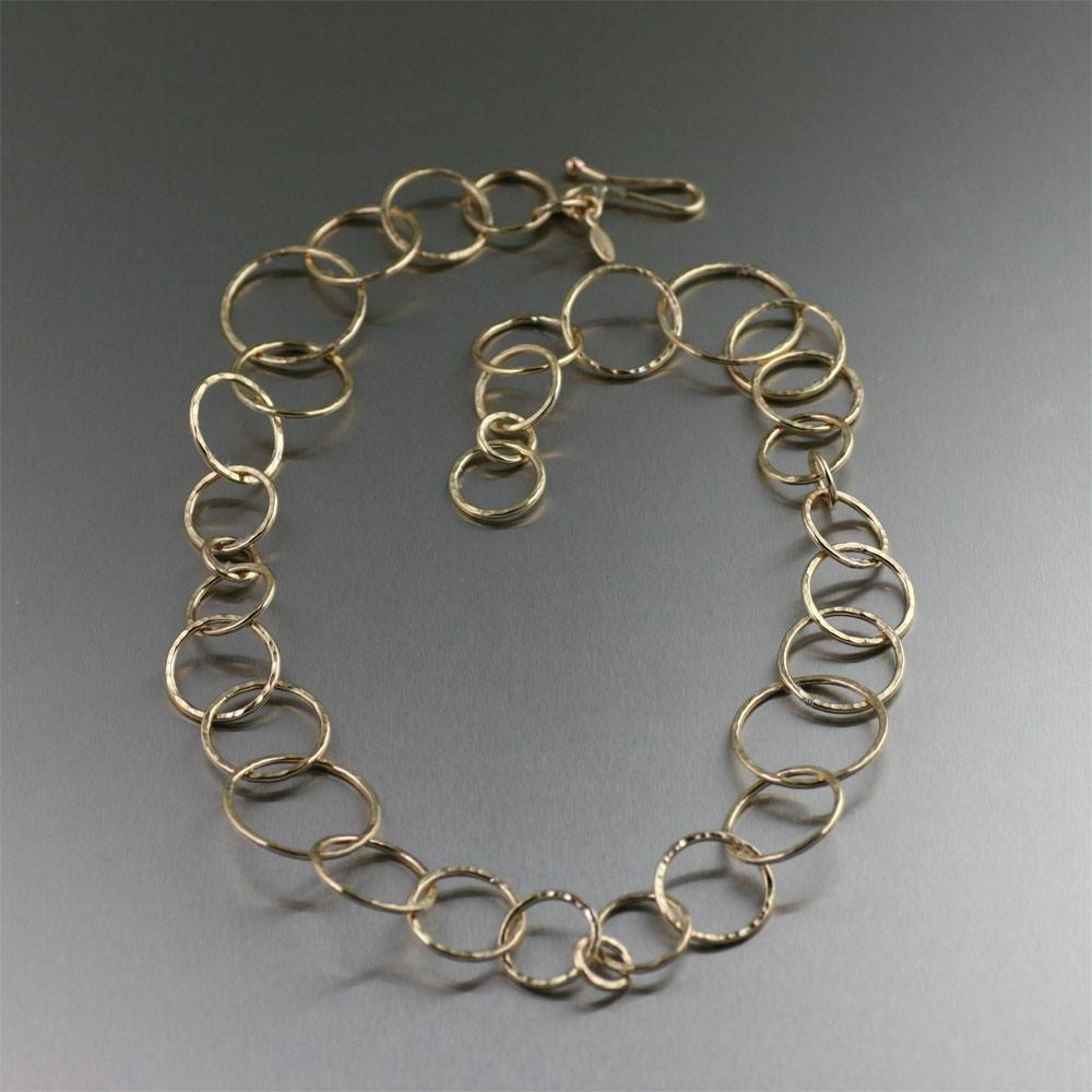 Nu Gold Brass Hammered Chain Necklace - johnsbrana - 1