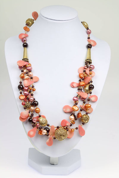 Pink Coral Garnet Beaded Gemstone Necklace - johnsbrana - 1