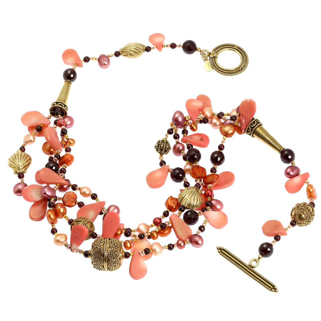Pink Coral Garnet Beaded Gemstone Necklace - johnsbrana - 2