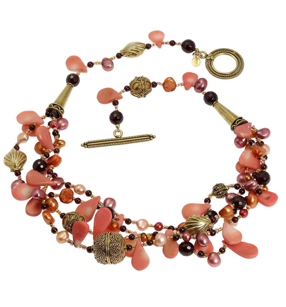 Pink Coral Garnet Beaded Gemstone Necklace - johnsbrana - 3