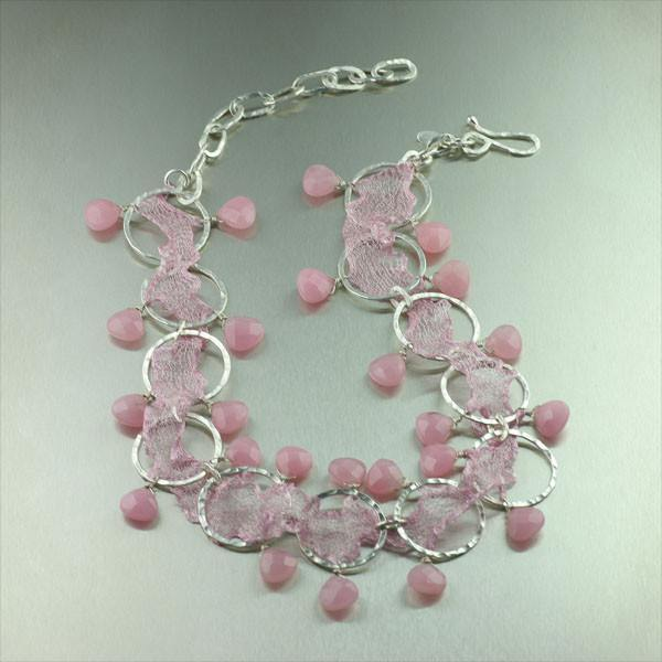 Pink Italian Mesh Metal Ribbon Necklace - johnsbrana