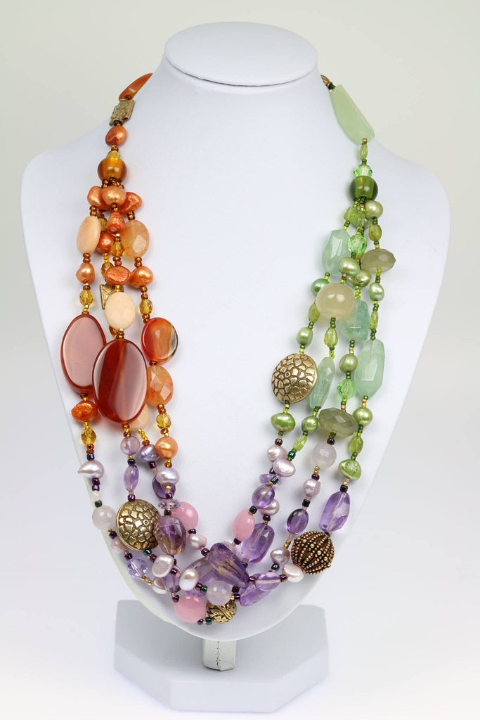 Prehnite Amethyst Carnelian Necklace - johnsbrana - 1