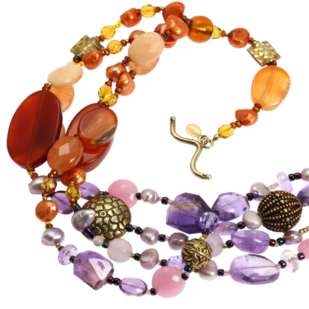 Necklaces - Prehnite Amethyst Carnelian Necklace
