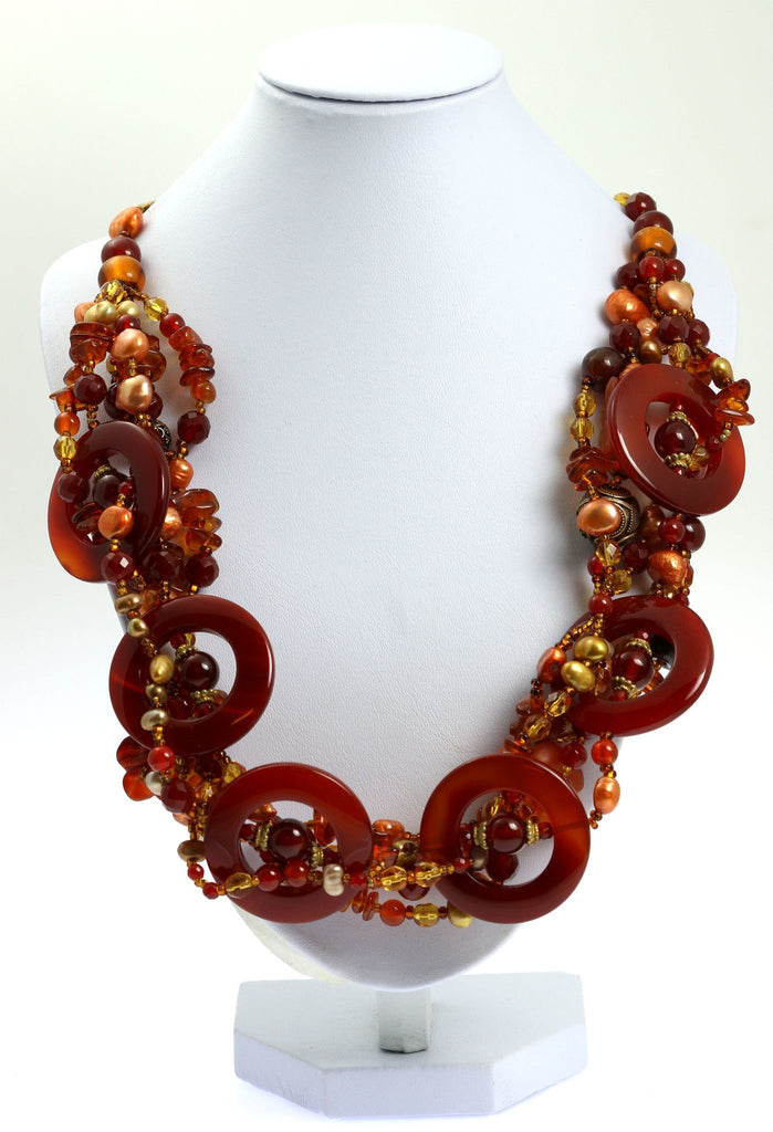 Round Carnelian Beaded Gemstone Necklace - johnsbrana - 1