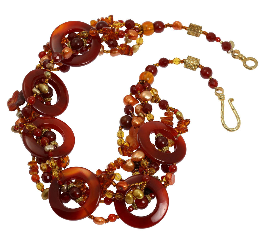 Round Carnelian Beaded Gemstone Necklace - johnsbrana - 2