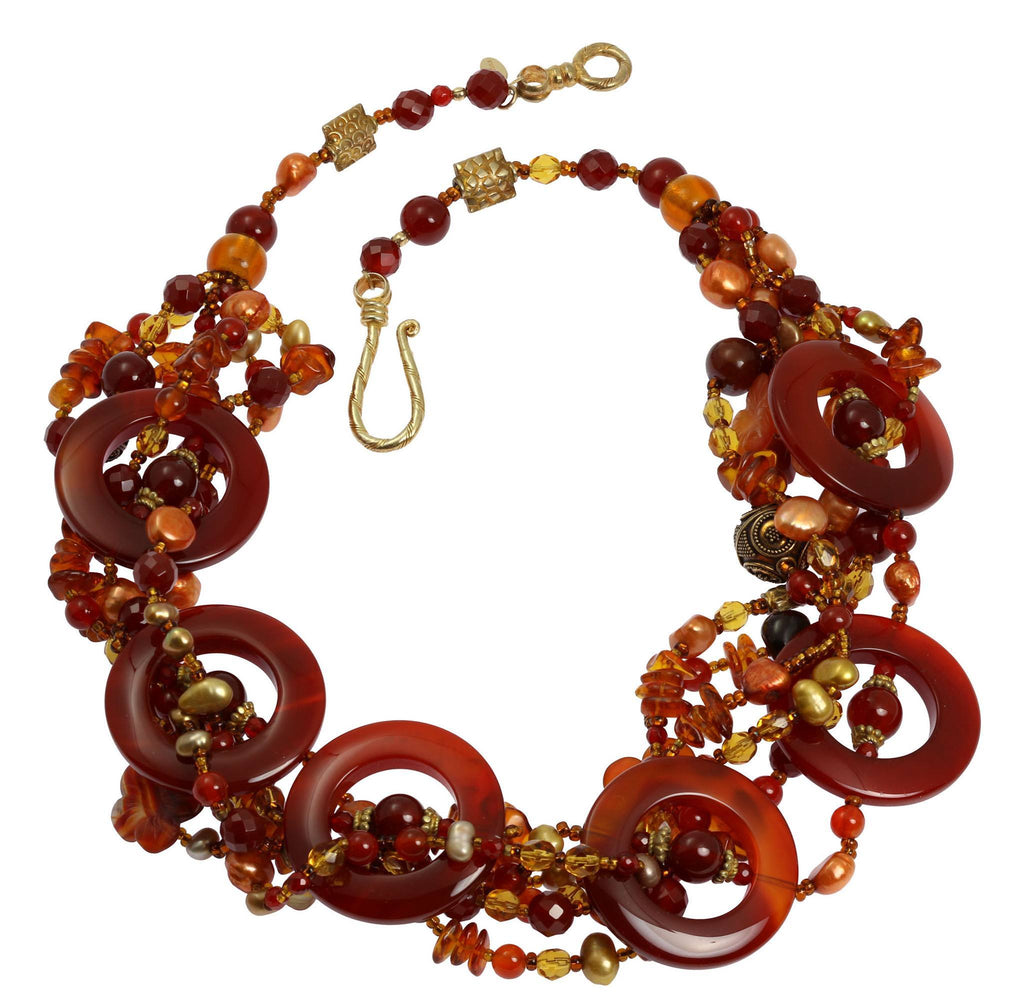 Round Carnelian Beaded Gemstone Necklace - johnsbrana - 3