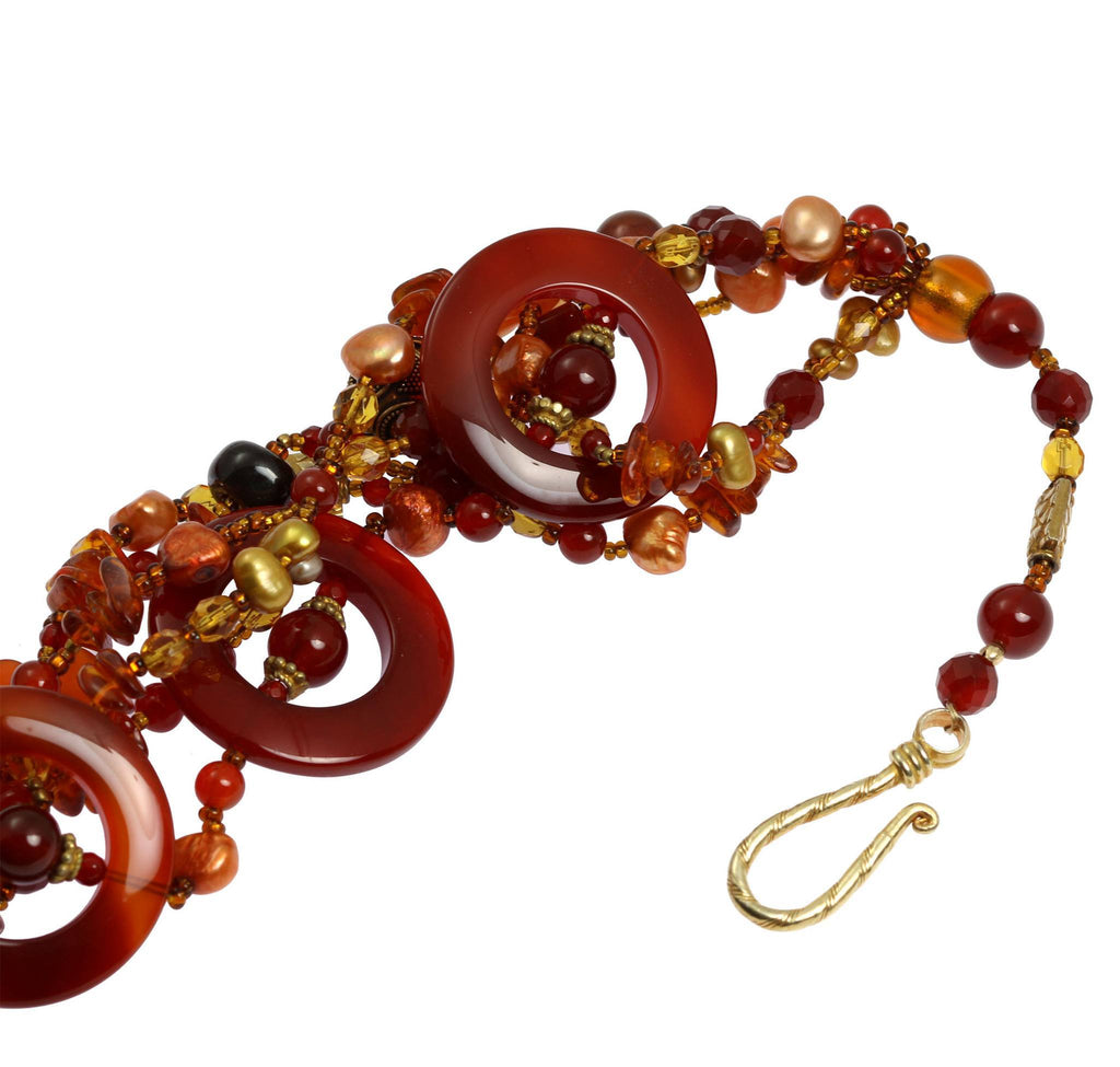 Round Carnelian Beaded Gemstone Necklace - johnsbrana - 4