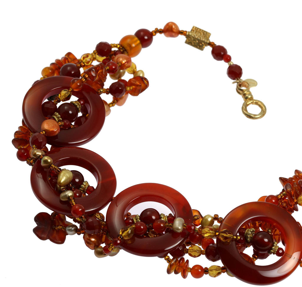 Round Carnelian Beaded Gemstone Necklace - johnsbrana - 5