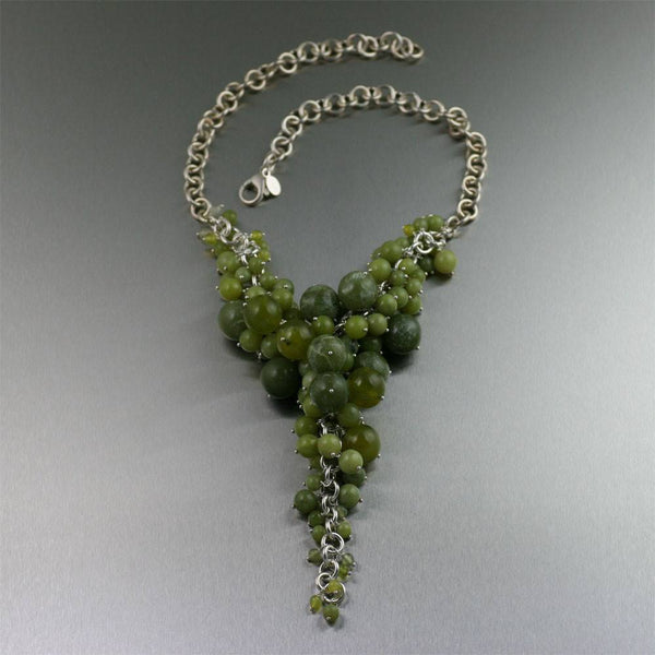 Serpentine Sterling Silver Chain Maille Necklace - johnsbrana - 1