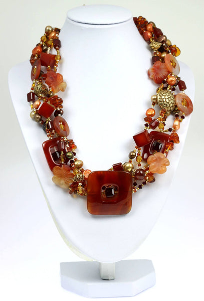Square Carnelian Beaded Gemstone Necklace - johnsbrana - 1