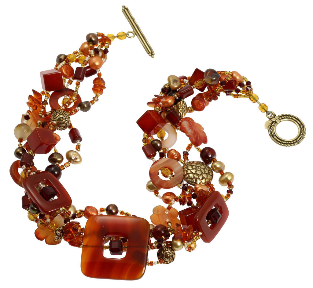 Square Carnelian Beaded Gemstone Necklace - johnsbrana - 2