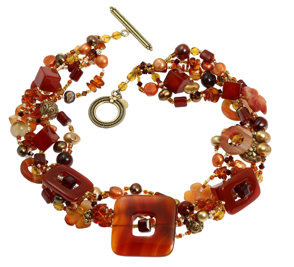 Square Carnelian Beaded Gemstone Necklace - johnsbrana - 3