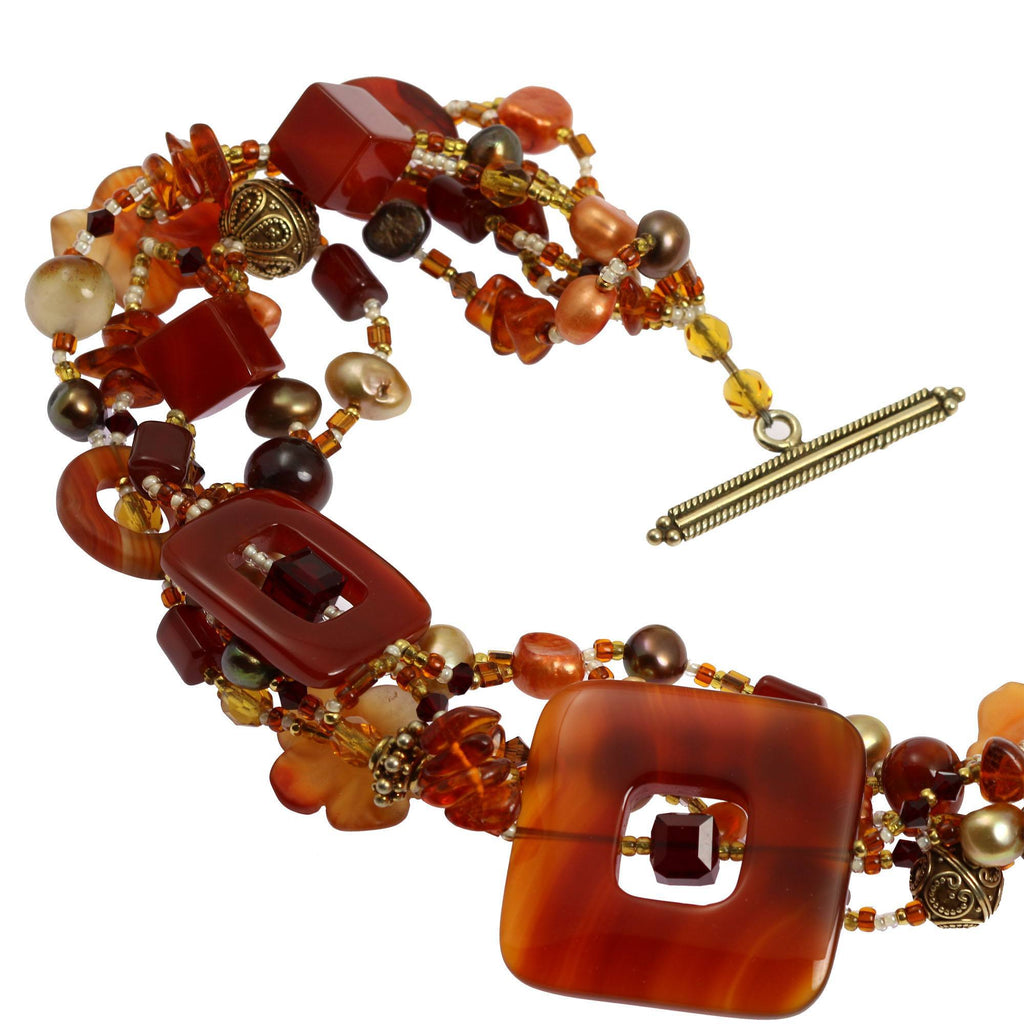 Square Carnelian Beaded Gemstone Necklace - johnsbrana - 4