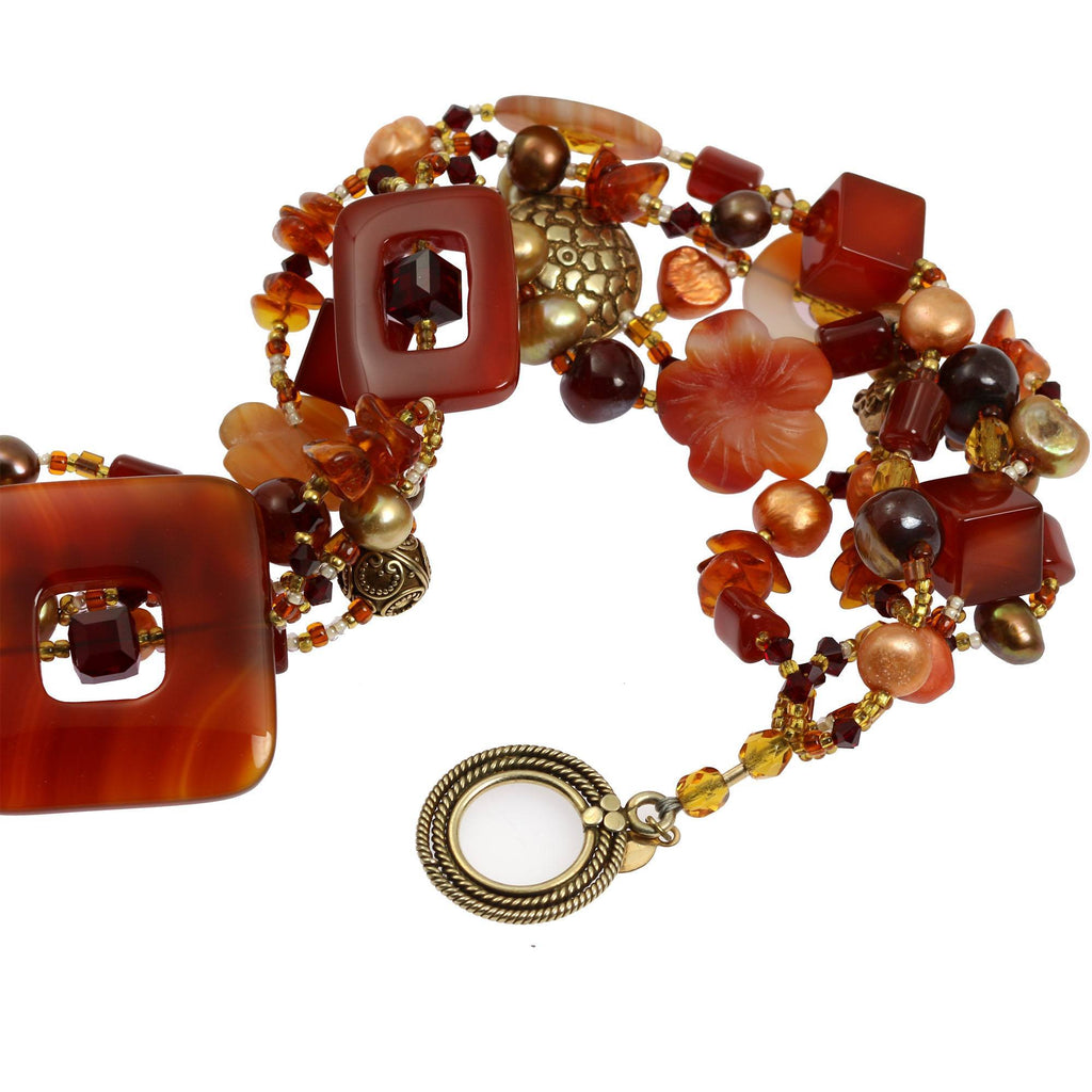 Necklaces - Square Carnelian Beaded Gemstone Necklace